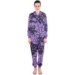 Floral Wallpaper Purple Hooded Jumpsuit (ladies)