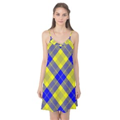 Smart Plaid Blue Yellow Camis Nightgown by ImpressiveMoments