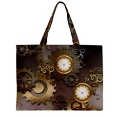 Steampunk, Golden Design With Clocks And Gears Zipper Tiny Tote Bags by FantasyWorld7