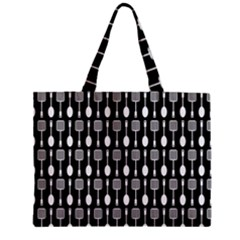 Black And White Spatula Spoon Pattern Zipper Tiny Tote Bags by creativemom
