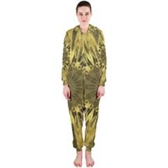 Kaleido Flower,golden Hooded Jumpsuit (ladies)