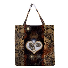 Steampunk, Awesome Heart With Clocks And Gears Grocery Tote Bags
