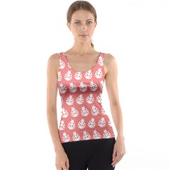 Coral And White Lady Bug Pattern Tank Tops
