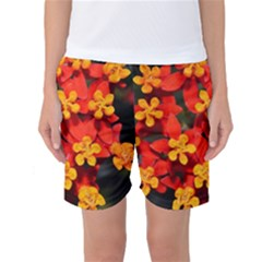 Orange And Red Weed Women s Basketball Shorts by timelessartoncanvas