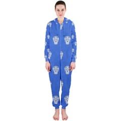 Skull Pattern Inky Blue Hooded Jumpsuit (ladies)