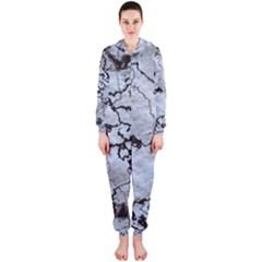 Marbled Lava White Black Hooded Jumpsuit (ladies)