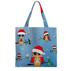Funny, Cute Christmas Owls With Snowflakes Zipper Grocery Tote Bags by FantasyWorld7