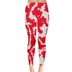 Migraine Red White Winter Leggings by MoreColorsinLife