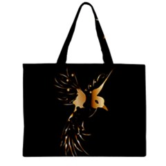 Beautiful Bird In Gold And Black Zipper Tiny Tote Bags