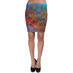 Abstract In Red, Turquoise, And Yellow Bodycon Skirts by theunrulyartist
