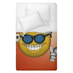 Funny Christmas Smiley With Sunglasses Duvet Cover Single Side (single Size) by FantasyWorld7