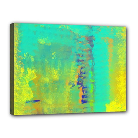 Abstract In Turquoise, Gold, And Copper Canvas 16  X 12  by theunrulyartist
