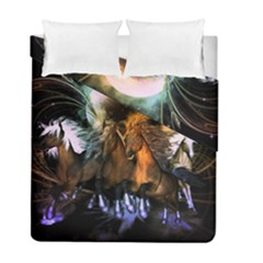 Wonderful Horses In The Universe Duvet Cover (twin Size) by FantasyWorld7