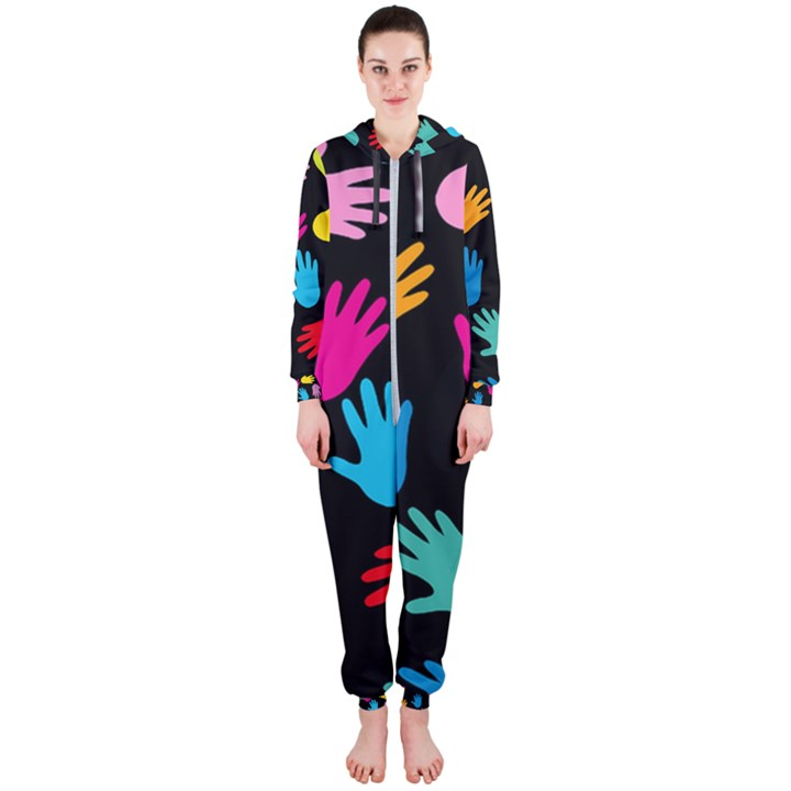 All Over Hands Hooded Jumpsuit (Ladies)