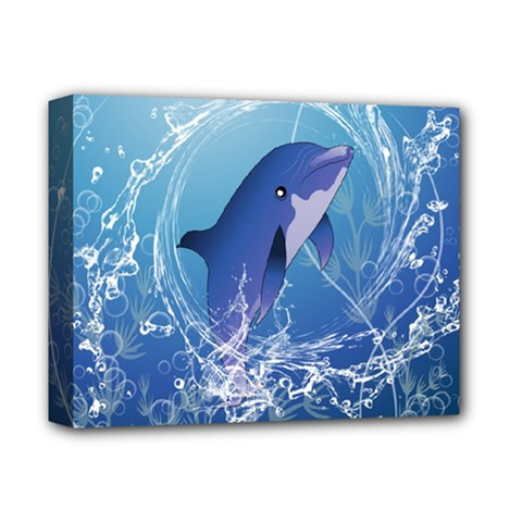 Cute Dolphin Jumping By A Circle Amde Of Water Deluxe Canvas 14  X 11  by FantasyWorld7