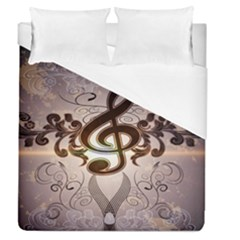 Music, Wonderful Clef With Floral Elements Duvet Cover Single Side (full/queen Size) by FantasyWorld7