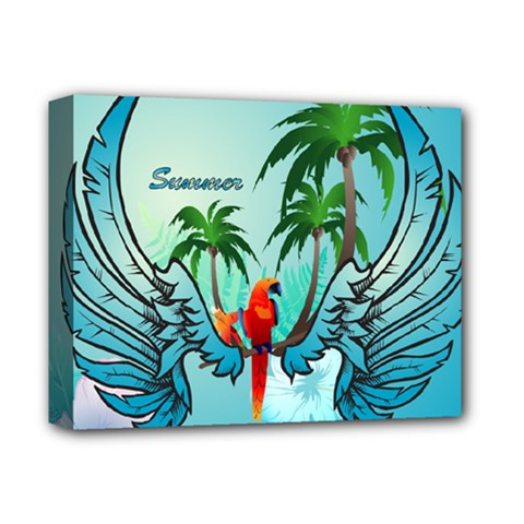 Summer Design With Cute Parrot And Palms Deluxe Canvas 14  X 11  by FantasyWorld7