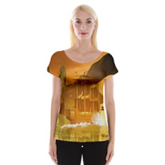 Awesome Sunset Over The Ocean With Ship Women s Cap Sleeve Top by FantasyWorld7