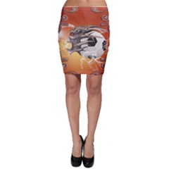 Soccer With Skull And Fire And Water Splash Bodycon Skirts by FantasyWorld7
