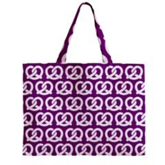 Purple Pretzel Illustrations Pattern Zipper Tiny Tote Bags