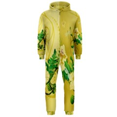 Wonderful Soft Yellow Flowers With Leaves Hooded Jumpsuit (men)