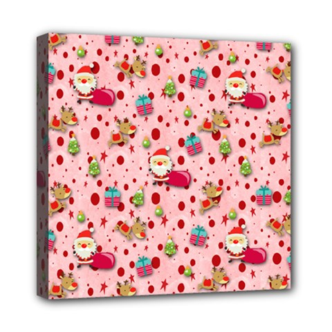 Red Christmas Pattern Mini Canvas 8  x 8  by KirstenStar