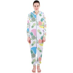 Pineapple Pattern 03 Hooded Jumpsuit (Ladies)  by Famous