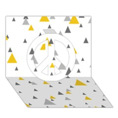 Pastel Random Triangles Modern Pattern Peace Sign 3d Greeting Card (7x5)