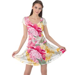 Colorful Floral Collage Cap Sleeve Dresses