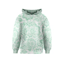 Mint Green And White Baroque Floral Pattern Kid s Pullover Hoodies by Dushan