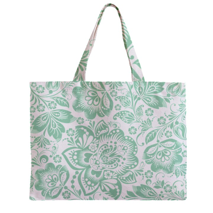 Mint green And White Baroque Floral Pattern Zipper Tiny Tote Bags