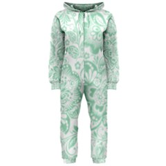 Mint green And White Baroque Floral Pattern Hooded Jumpsuit (Ladies)  by Dushan