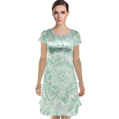 Mint Green And White Baroque Floral Pattern Cap Sleeve Nightdresses