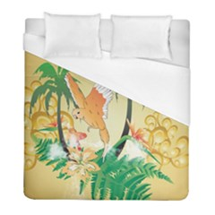 Funny Budgies With Palm And Flower Duvet Cover Single Side (twin Size) by FantasyWorld7