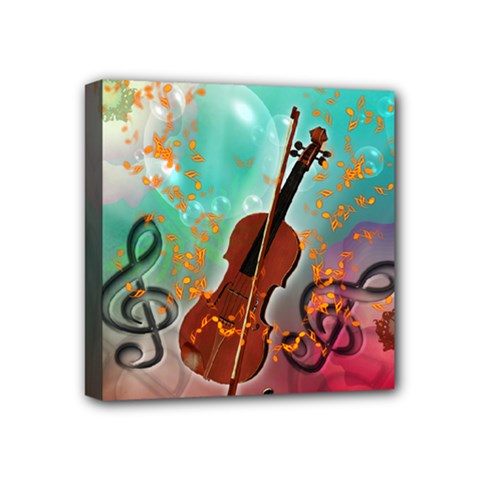 Violin With Violin Bow And Key Notes Mini Canvas 4  X 4  by FantasyWorld7