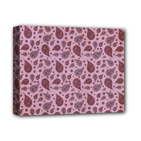 Vintage Paisley Pink Deluxe Canvas 14  X 11  by MoreColorsinLife