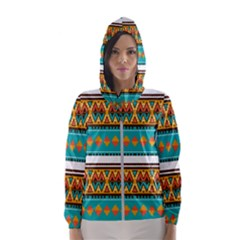 Tribal design in retro colors Hooded Wind Breaker (Women) by LalyLauraFLM