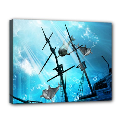 Awesome Ship Wreck With Dolphin And Light Effects Canvas 14  x 11  by FantasyWorld7