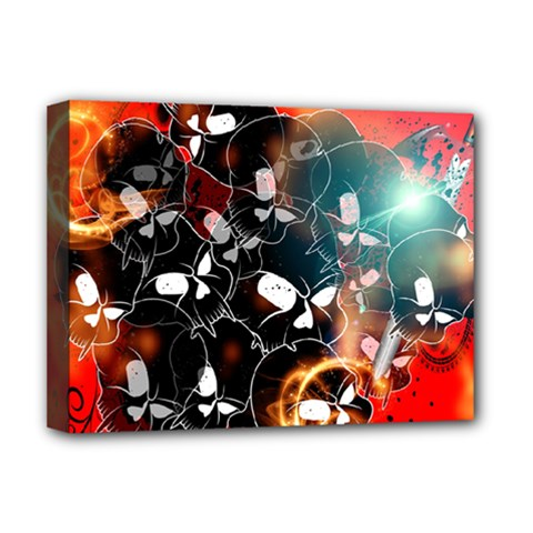Black Skulls On Red Background With Sword Deluxe Canvas 16  X 12   by FantasyWorld7