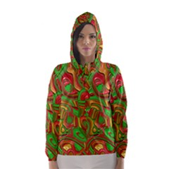 Art Deco Red Green Hooded Wind Breaker (women)	 by MoreColorsinLife