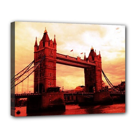 London Tower Bridge Red Canvas 14  x 11  by MoreColorsinLife
