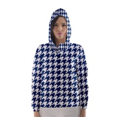 Houndstooth Midnight Hooded Wind Breaker (women)	 by MoreColorsinLife