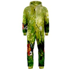 Awesome Flowers And Lleaves With Dragonflies On Red Green Background With Grunge Hooded Jumpsuit (men)
