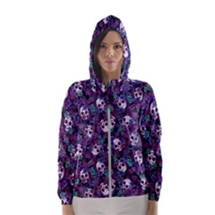 Flowers and Skulls Hooded Wind Breaker (Women) by Ellador