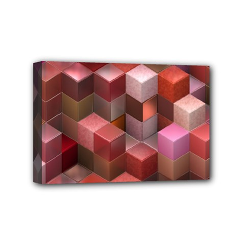 Artistic Cubes 9 Pink Red Mini Canvas 6  X 4  by MoreColorsinLife