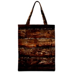 Dark Stained Wood Wall Zipper Classic Tote Bags by trendistuff