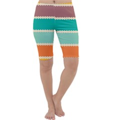 Rhombus And Retro Colors Stripes Pattern Cropped Leggings
