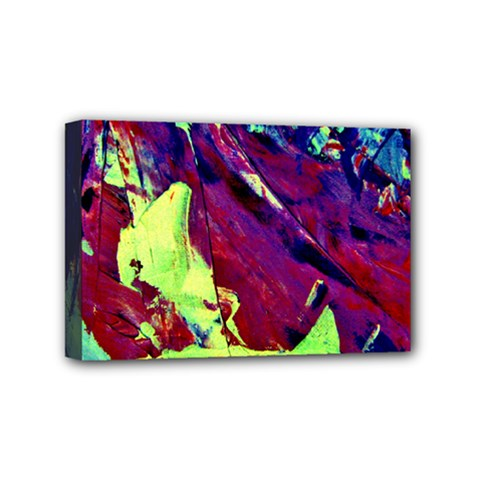 Abstract Painting Blue,yellow,red,green Mini Canvas 6  X 4  by Costasonlineshop
