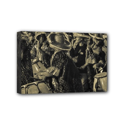 Group Of Candombe Drummers At Carnival Parade Of Uruguay Mini Canvas 6  X 4  by dflcprints