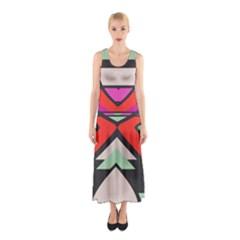 Shapes In Retro Colors Full Print Maxi Dress